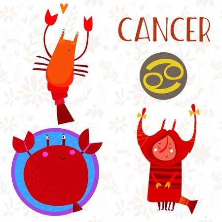 conjunction: Cute Zodiac sign-Cancer-different  illustrations  in cartoon style. Lovely design for adults and kids. - stock vector