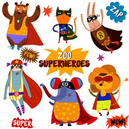 PARTE 1. animales de superhéroes: oso, gato, conejo, tlacuache, elefante, lion.Awesome colección infantil en el estilo de dibujos animados con Elementos del cómic -stock vectorial