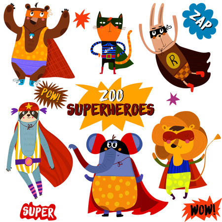 PART 1. Superhero animals:bear, cat, rabbit, opossum, elephant, lion.Awesome childish collection  in cartoon style with Comic Book Elements -stock vector