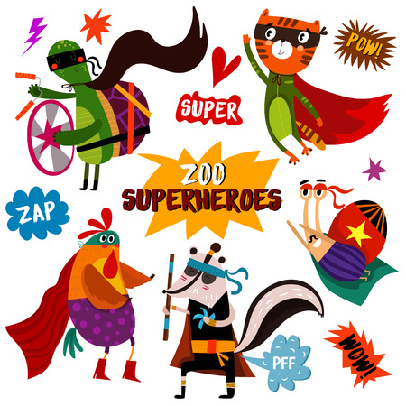 PART 2. Superhero animals: turtle, tiger, cock, skunk, snail.Awesome childish collection  in cartoon style with Comic Book Elements -stock vector