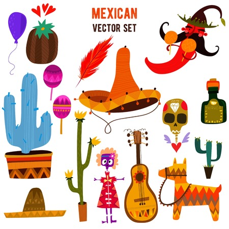 Mexican collection in cartoon style.All objects are isolated groups so you can move and separate them-stock vector