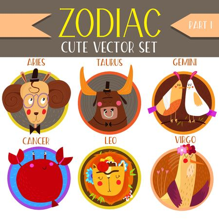 water birth: Cute Vector Set of zodiac signs.Part 1: Aries,Taurus, Gemini, Cancer, Leo, Virgo. Cute cartoon astrology symbols for adults and kids. - stock vector