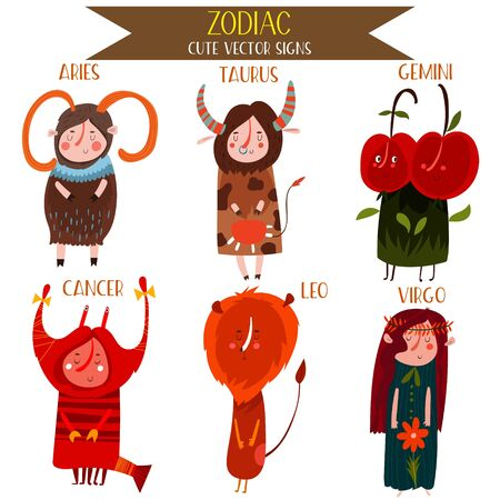 gemini girl: Cute Vector Set of zodiac signs.Part 1: Aries,Taurus, Gemini, Cancer, Leo, Virgo. Cute cartoon astrology symbols for adults and kids. - stock vector