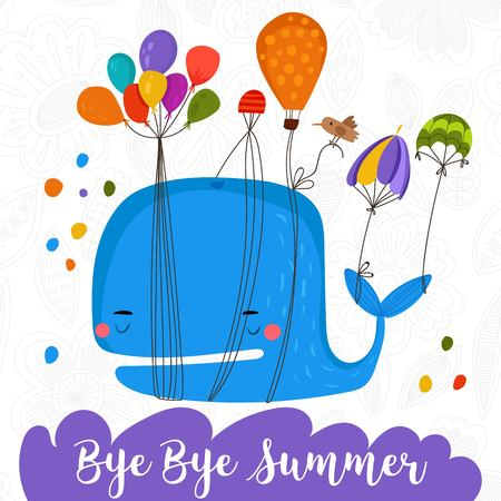 Bye Bye Summer-Awesome whale card.Cute happy whale.Lovely childish card in stylish colors