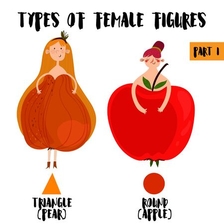 body shape: Types of female figures in cartoon design.Part I:Triangle  Pear, Apple  Rounded.Female body types. Body shape - stock vector Illustration