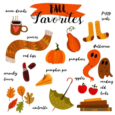 fall harvest: Fall Favorites-Autumn vector set.Collection of scrapbook elements for party or harvest festival.