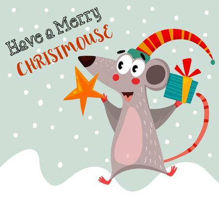 winter colors: Have a Merry ChristMouse.Funny card in vector.Bright winter concept card  with lovely  mouse.Childish card in bright colors - stock vector Illustration