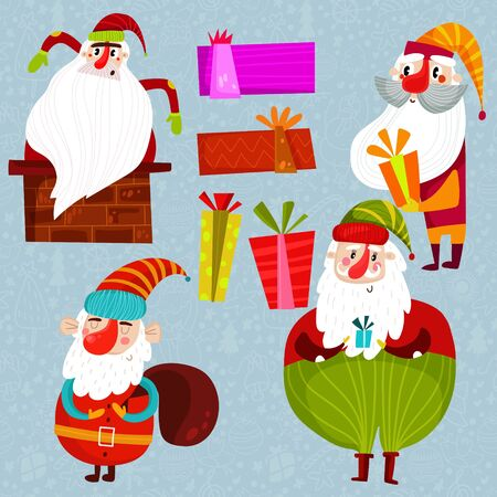 Funny Santa Clauses and gifts. Collection of Christmas Santa Claus in cartoon style- stock vector
