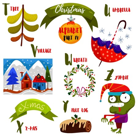 santa zombie: Awesome Christmas alphabet in vector. Part IV- a lot of holiday symbols: Tree,umbrella,village,wreath,yule log and Zombie. Sweet Christmas card in cartoon style