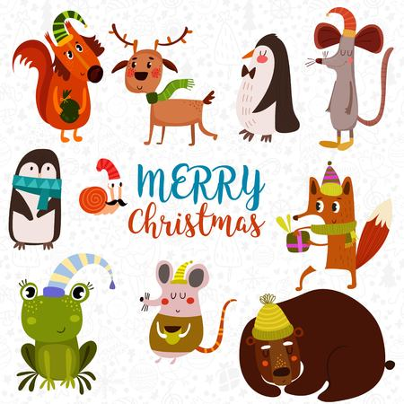 Lovely Christmas set in cartoon style. Funny card with cute animals: squirrel, fox, deer,frog, rat, mouse, bear,penguin and snail.- stock vector
