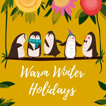 winter colors: Warm Winter Holidays card.Funny composition with cute penguins.Concept cartoon  card in bright colors - stock vector