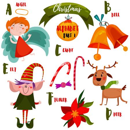 Awesome Christmas alphabet in vector. Part I- a lot of holiday symbols: Angel, bells,candy,elf,deer and Christmas Flower. Sweet Christmas card in cartoon style