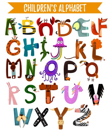 Bright alphabet for children with cute animals.  It can be used as poster. - stock vector