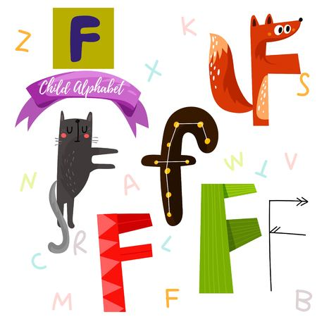 Bright alphabet set in vector.F Letter-Stylish 6 hand drawn letters in different designs.Cartoon abs icons - stock vector
