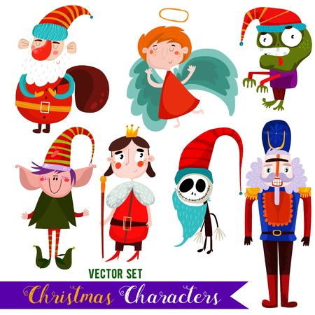 Christmas vector characters-Santa, Angel, Zombie,Elf, King, Jack and Nutcracker.Design elements set illustration. Illustration
