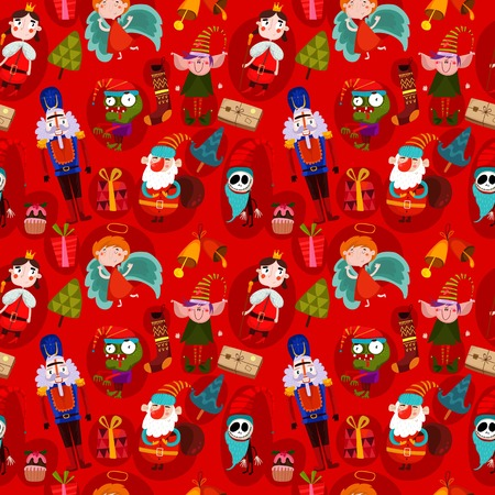 Vector seamless Christmas pattern with Christmas characters. Suitable for textile, gift cards and gift wrapping paper.