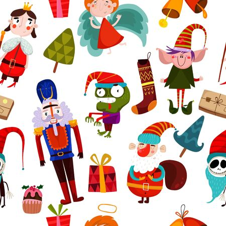 santa zombie: Vector seamless Christmas pattern with Christmas characters. Suitable for textile, gift cards and gift wrapping paper.