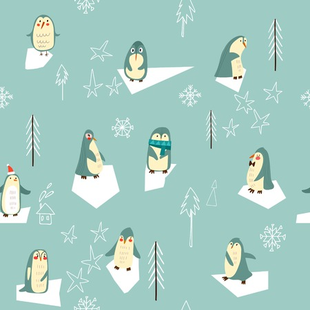 gift pattern: Vector seamless Christmas pattern with cute penguin. Suitable for textile, gift cards and gift wrapping paper.