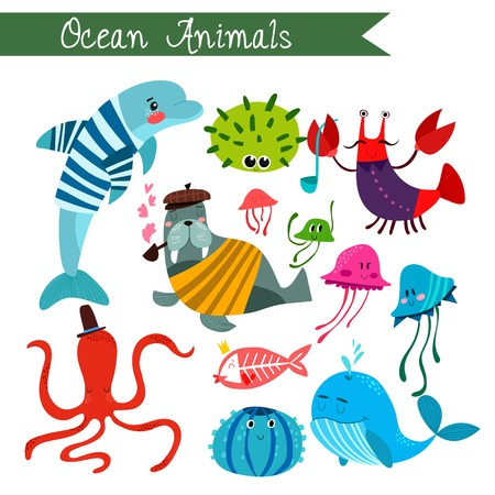 ocean background: Ocean animals vector illustration.Vector set. Isolated on white background. Ocean  animals cartoon style. Preschool, baby, continents, travelling, drawn - stock vector