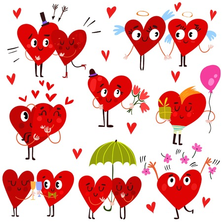 lovely couple: Cartoon Heart Collection-Set of valentine hearts for your design-stock vector