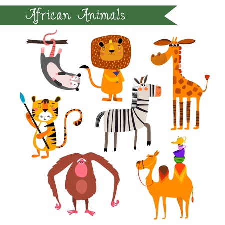 African animals vector illustration.Vector set. Isolated on white background. African animals cartoon style. Preschool, baby, continents, travelling, drawn - stock vector