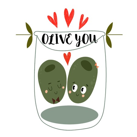 Olive You.The original Valentines card with two cartoon olives.Flat design Happy Valentines.Can be add text-stock vector