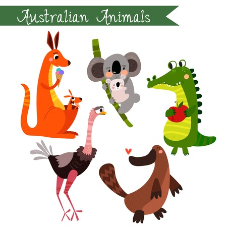 Australian animals vector illustration.Vector set. Isolated on white background. Australian  animals cartoon style. Preschool, baby, continents, travelling, drawn - stock vector