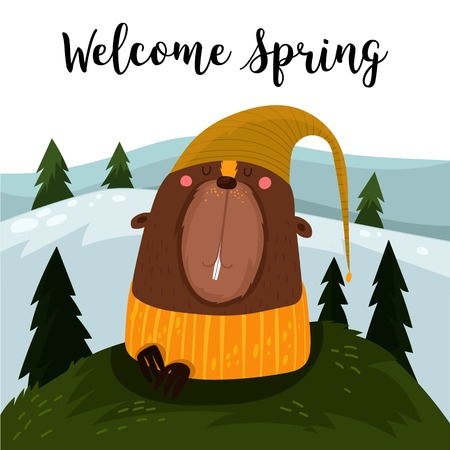 awakening: Welcome Spring.Happy Groundhog Day design with cute groundhog- stock vector