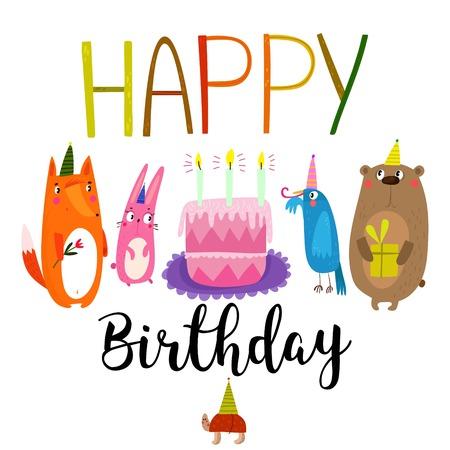 Vector Happy Birthday Card With Cute Rabbit Bird Turtle Fox