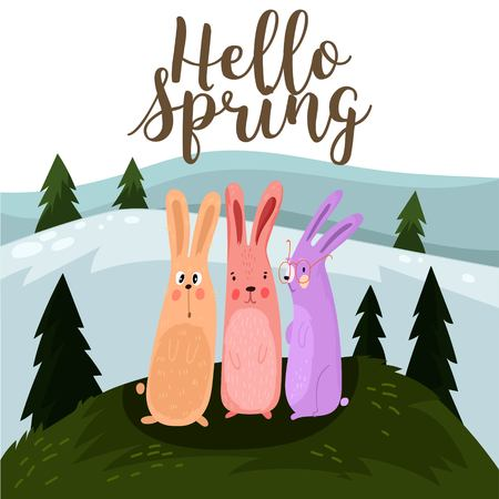 Hello spring greeting card. Hand drawn illustration with cartoon rabbit.Bright easter concept card with you are my happy text in vector - stock vector