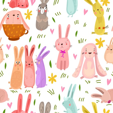 Lovely seamless pattern with cute rabbits and flowers. Awesome background in bright colors in vector Ilustração