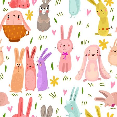 Mooi naadloos patroon met schattige konijnen en bloemen. Geweldige achtergrond in heldere kleuren in vector