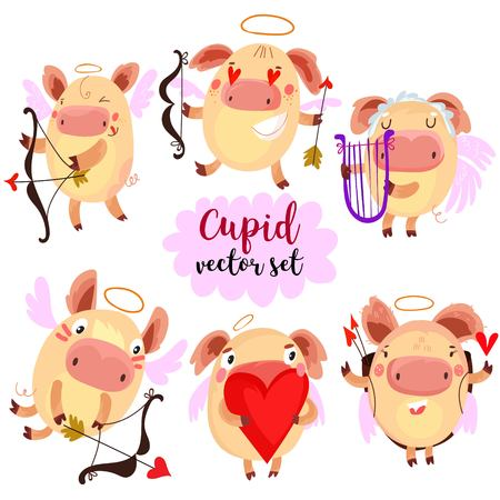pig wings: Cartoon Cupid pigs in various positions with hearts, arrows, bows, wings, feathers.Vector set for Happy Valentines day decorations, separated editable elements. Hand drawn vector illustration.