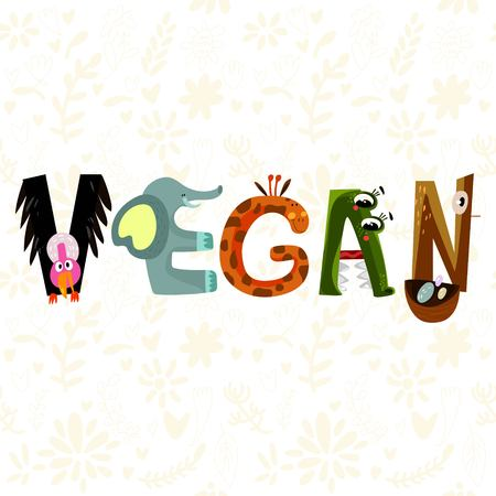eco slogan: Hand-sketched typographic element. Vegan.Text for t-shirt, fashion, prints - stock vector