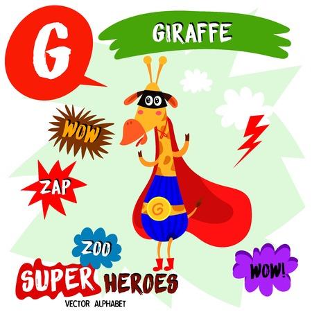 Súper gran conjunto. Alfabeto lindo vector Zoo con animales en estilo de dibujos animados. Letra G-Jirafa en traje de superhéroes. Elementos de cómic - vector stock Foto de archivo - 87048067