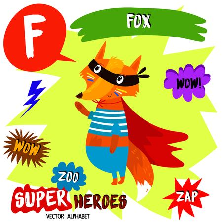 Super big set. Cute vector Zoo alphabet with animals in cartoon style. Letter F-Fox in superheroes costume.Comic Book Elements - stock vector