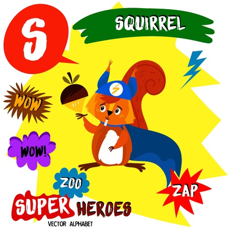Super big set. Cute vector Zoo alphabet with animals in cartoon style. Letter S-Squirrel in superheroes costume.Comic Book Elements - stock vector