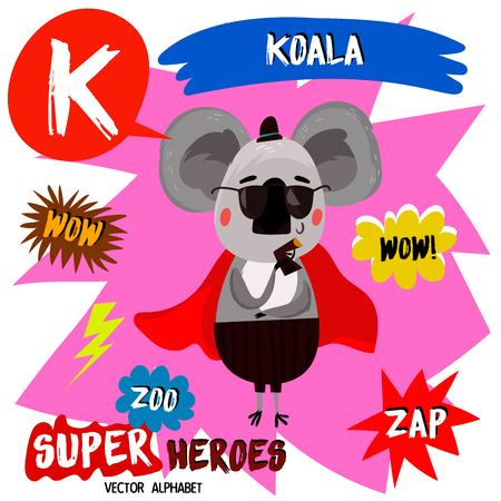 Super big set. Cute vector Zoo alphabet with animals in cartoon style. Letter K-Koala in superheroes costume.Comic Book Elements - stock vector
