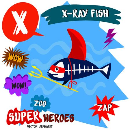 Super big set. Cute vector Zoo alphabet with animals in cartoon style. Letter X-X-ray Fish in superheroes costume.Comic Book Elements - stock vector Illustration