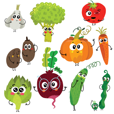 Cartoon funny vegetable characters : broccoli, tomatoes, garlic, pumpkin, potato, peas, beet, carrot, artichoke and cucumber. Cute vector illustrations isolated on white background. Stock Illustratie