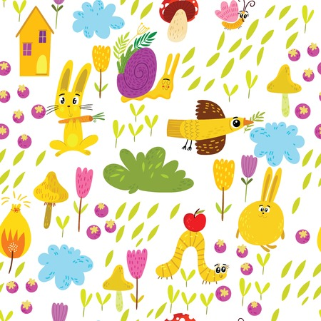 Cute seamless pattern with rabbits, birds and flowers. Endless Spring background.