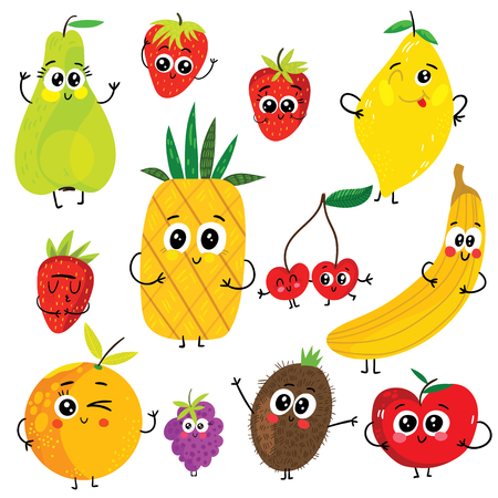 Cartoon funny fruits characters : apple, pear, banana, strawberry, pineapple, orange, cherry, raspberry, kiwi and lemon. Cute vector illustrations isolated on white background. 向量圖像