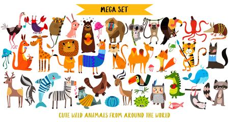 Mega set di simpatici animali del fumetto: animali selvatici, animali del porticciolo. Illustrazione di vettore isolata su priorità bassa bianca.