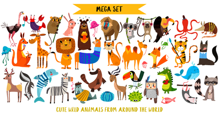 Mega set of cute cartoon animals: wild animals, marina animals.Vector illustration isolated on white background. Standard-Bild - 97070675