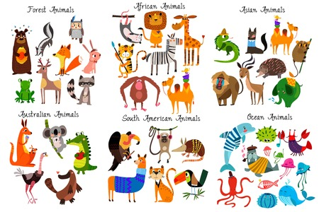 Big collection of cute cartoon animals from different continents: Forest,Australian, African ,South american animals,Ocean animals and Asian animals. Vector illustration isolated on white