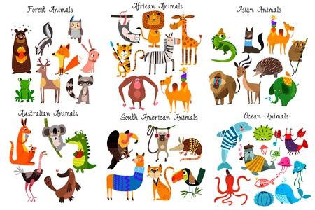 Duża kolekcja uroczych kreskówek zwierząt z różnych kontynentów: zwierząt leśnych, australijskich, afrykańskich, południowoamerykańskich, oceanicznych i azjatyckich. Ilustracja wektorowa na białym tle