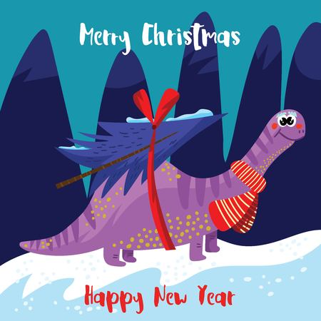 Dino illustration vector for Christmas design or greetings card