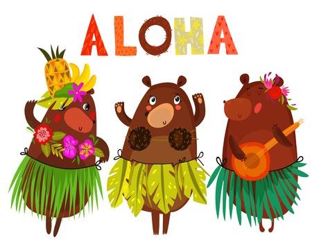 Vector illustration with cute bears and flowers. ALOHA. Hawaiian party, Hawaii. Tropical print for tee shirt, poster, postcard, invitation. Hand drawn. - stock vector