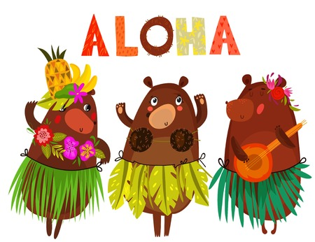 Vector illustration with cute bears and flowers. ALOHA. Hawaiian party, Hawaii. Tropical print for tee shirt, poster, postcard, invitation. Hand drawn. - stock vector