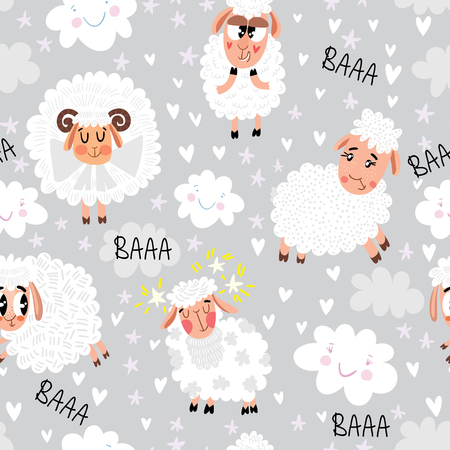 Seamless pattern with cute sheep, clouds and stars. Magic background can be used for wallpapers, pattern fills, surface textures. Иллюстрация